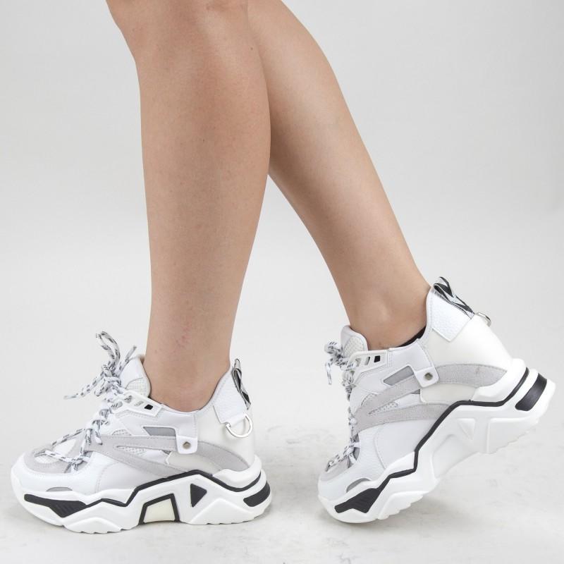 Pantofi Sport Dama cu Platforma SJN281 White Mei