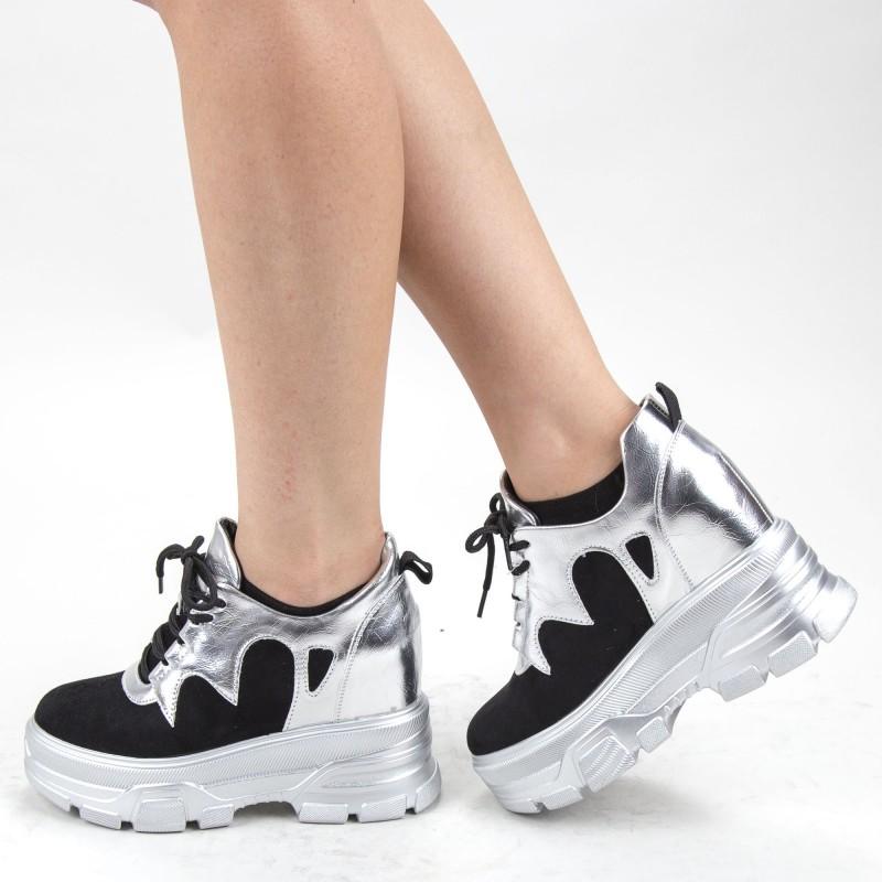 Pantofi Sport Dama cu Platforma SJN301 Silver Mei