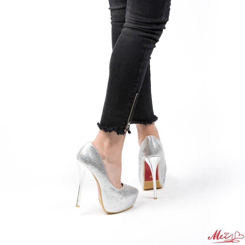 Pantofi cu Toc si Platforma OLG1F Silver Mei