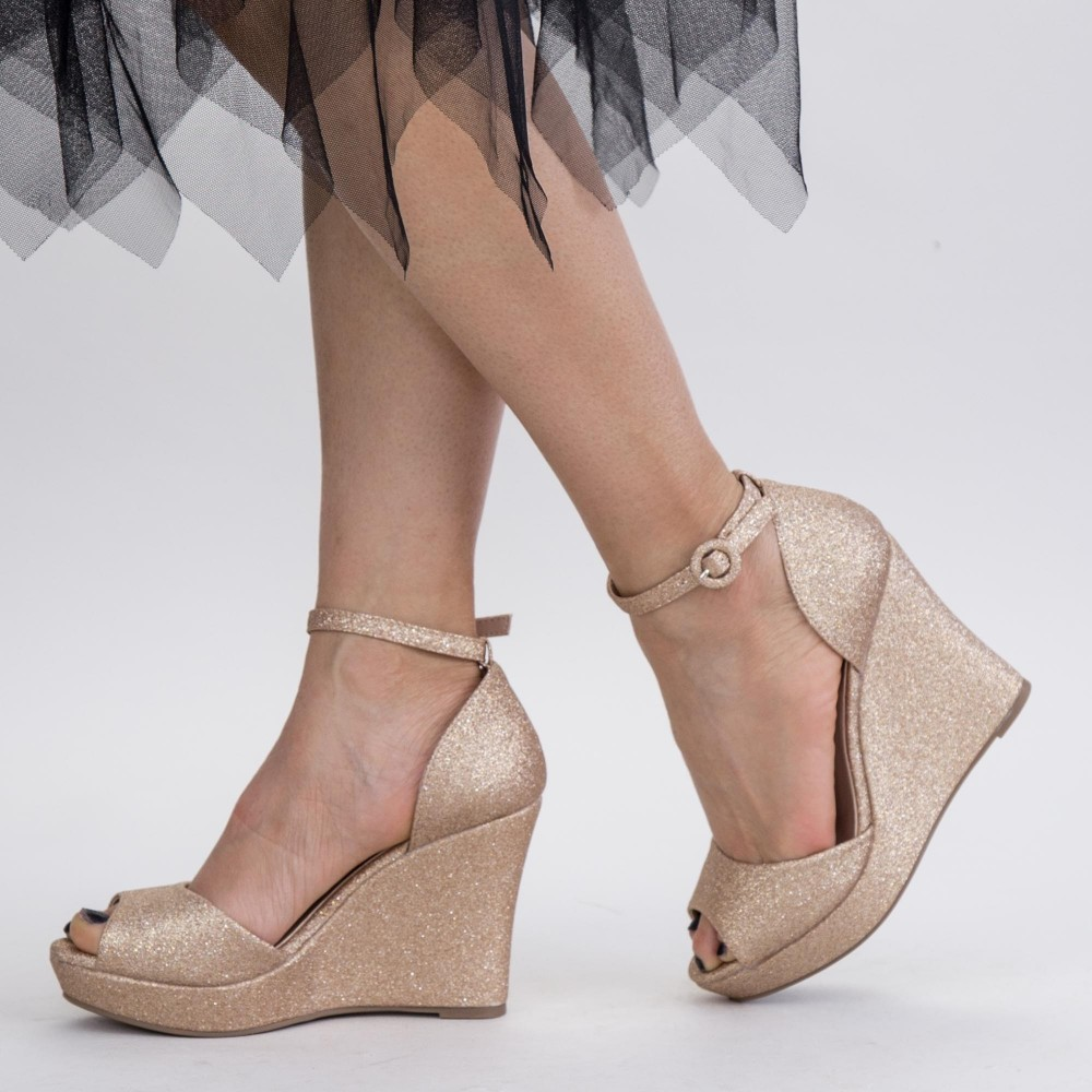 Sandale Dama cu Platforma XDT271A Champagne Mei