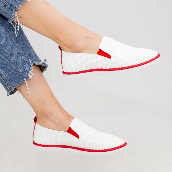 Pantofi Casual Dama D712 White-Red Se7en