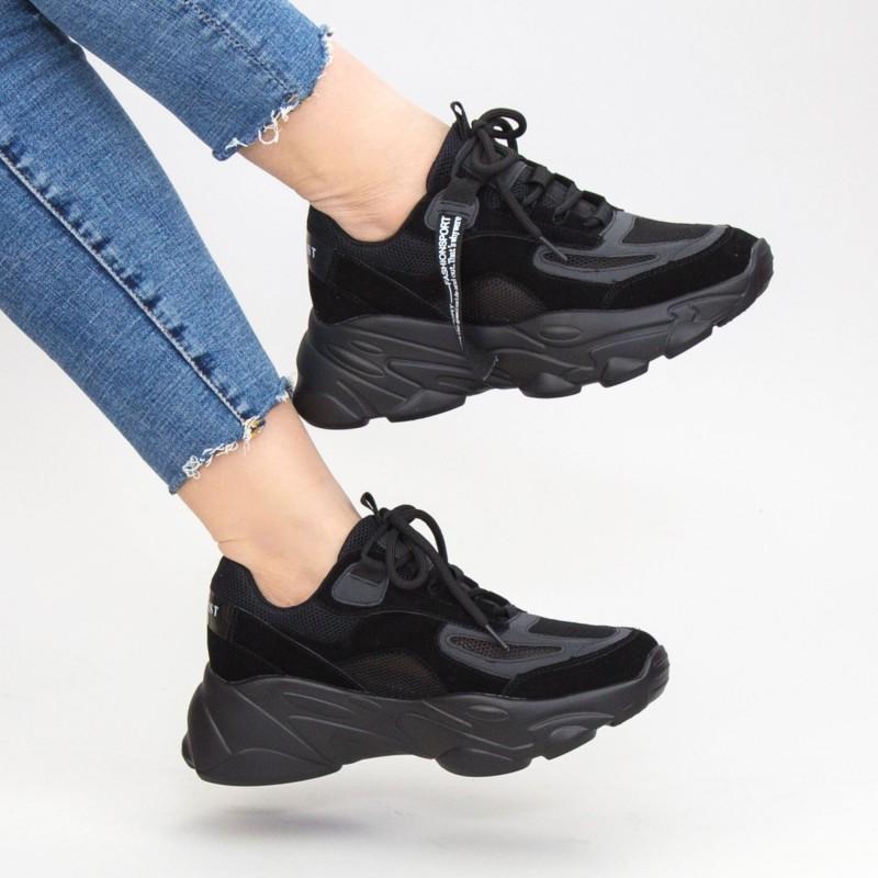 Pantofi Sport Dama cu Platforma SZ259 Black Mei