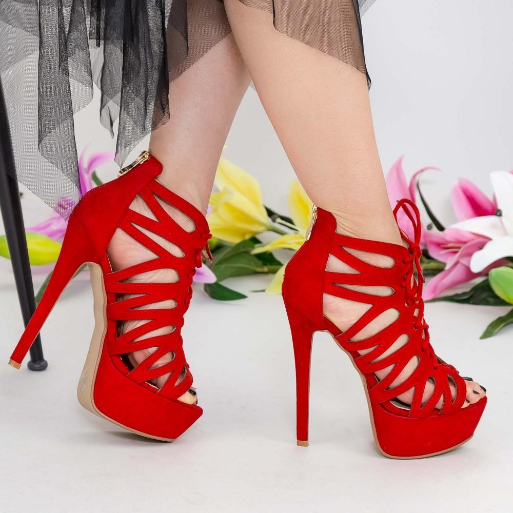 Sandale Dama cu Toc gros si Platforma XKK216 Red Mei