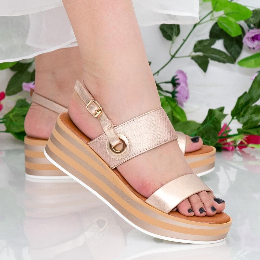 Sandale Dama cu Platforma QZL253 Champagne Mei
