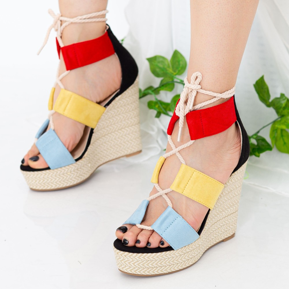 Sandale Dama cu Platforma XKK231 Blue Mei
