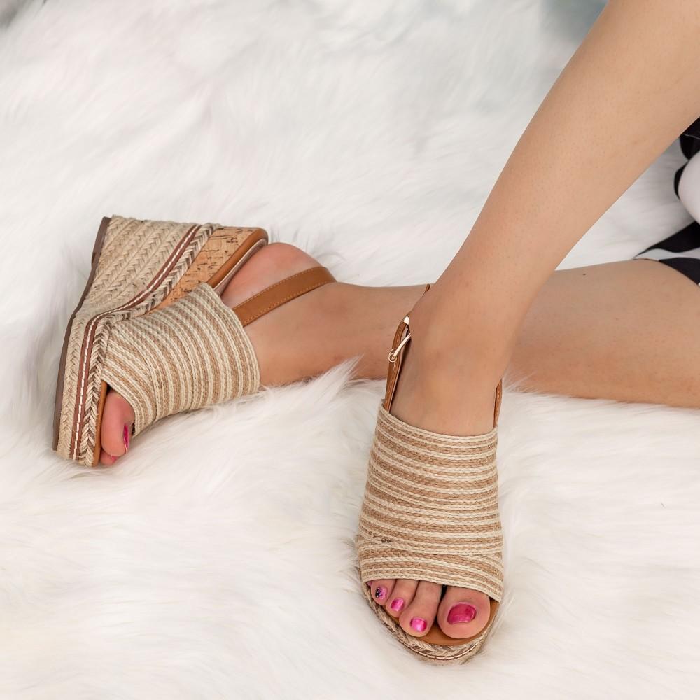 Sandale Dama cu Platforma A901 Beige Mellisa