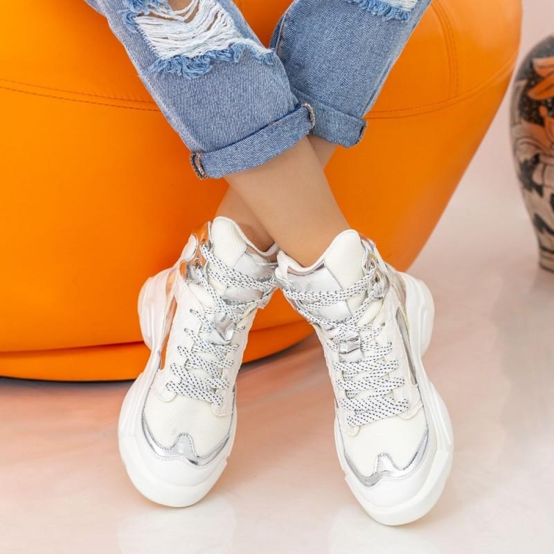 Pantofi Sport Dama cu Platforma SZ251 White Mei