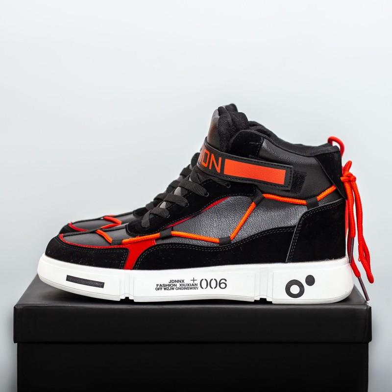 Pantofi Sport Barbati F111 Negru-Rosu-Negru Fashion
