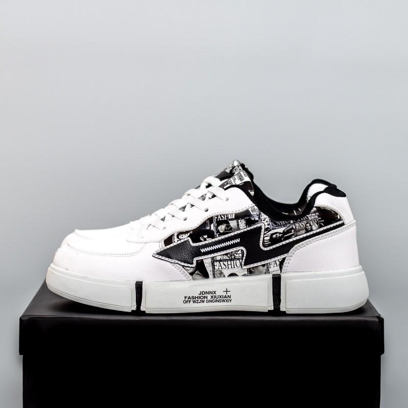 Pantofi Sport Barbati F110 Alb-Negru Fashion