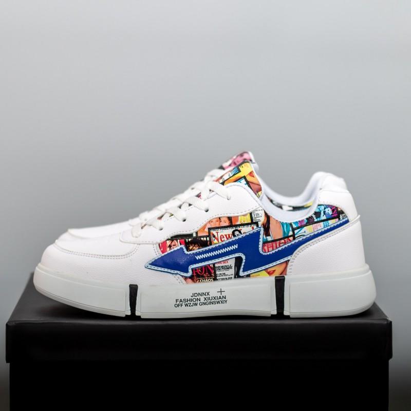 Pantofi Sport Barbati F110 Albastru inchis-Rosu Fashion