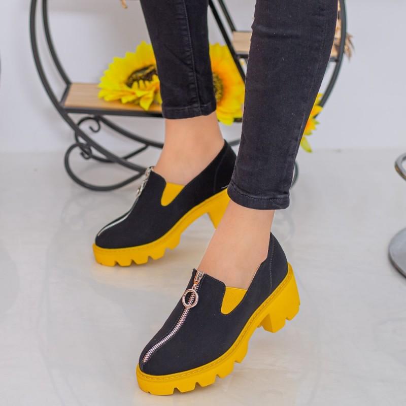 Pantofi Casual Dama MX156 Black-Yellow Mei