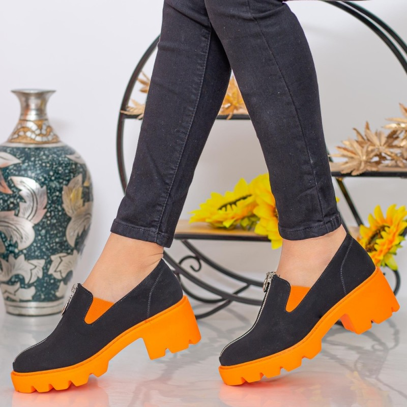 Pantofi Casual Dama MX156 Black-Orange Mei