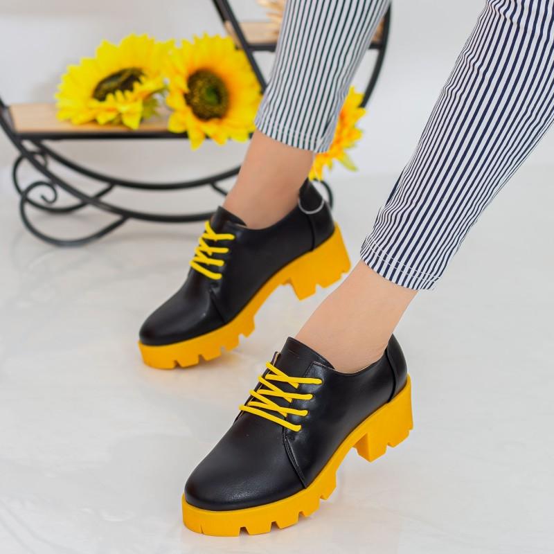 Pantofi Casual Dama ZP1971 Black-Yellow Mei