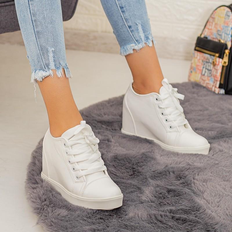Pantofi Sport Dama cu Platforma K25-1 Alb Mei