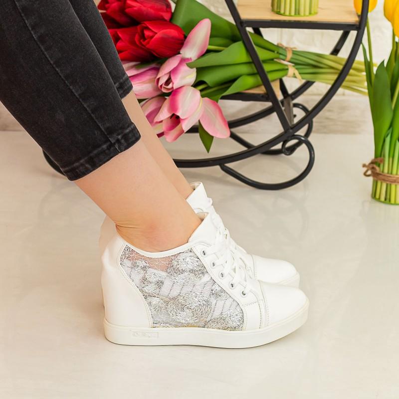 Pantofi Sport Dama cu Platforma K26 Alb Mei