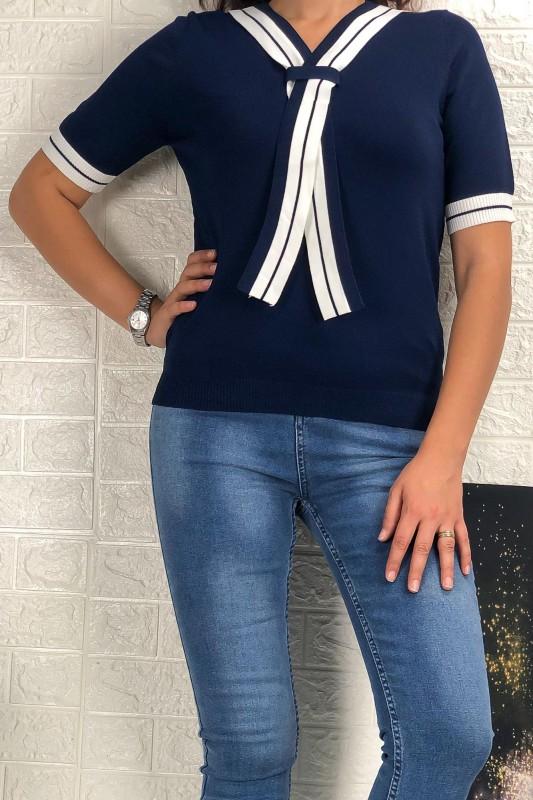 Bluza Dama M18-322 Albastru Inchis Fashion