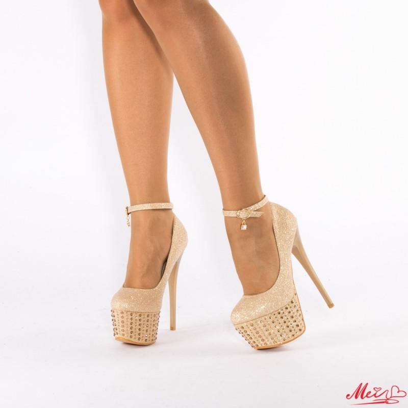 Pantofi cu Toc si Platforma TL5 Gold Mei