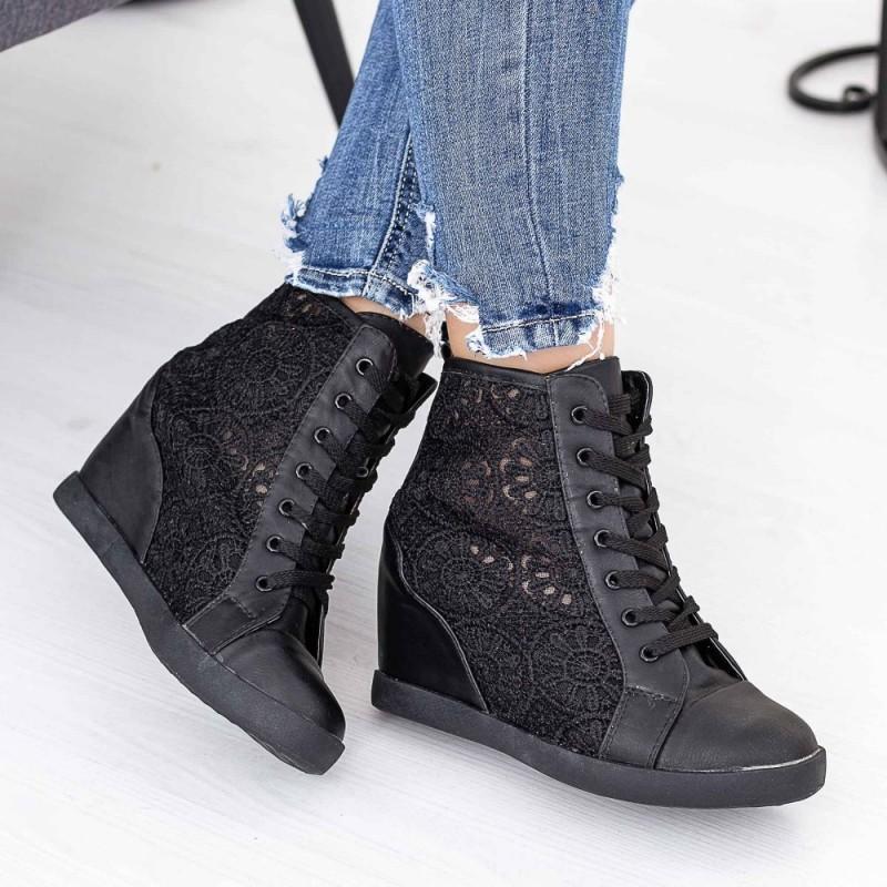 Pantofi Sport Dama cu Platforma ET1 Negru Mei