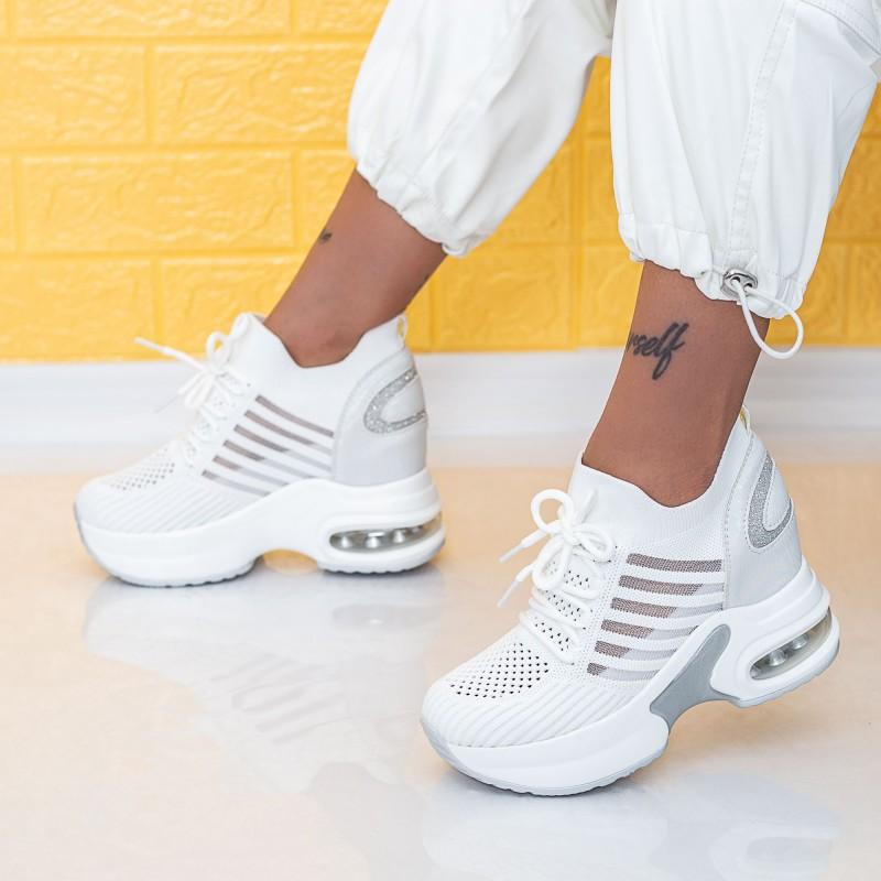 Pantofi Sport Dama cu Platforma WLGH58 Alb Mei
