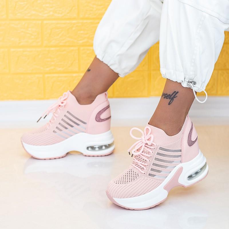 Pantofi Sport Dama cu Platforma WLGH58 Roz Mei