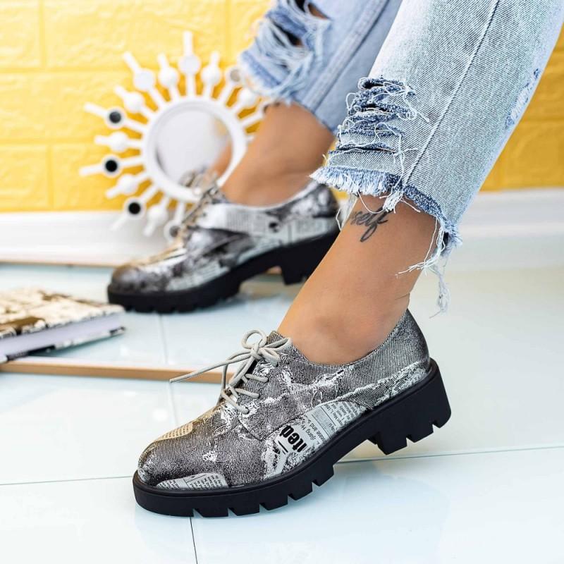 Pantofi Casual Dama DS30 Argintiu-Gri Mei