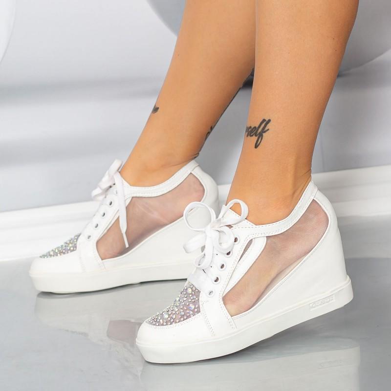 Pantofi Sport Dama cu Platforma K23 Alb Mei