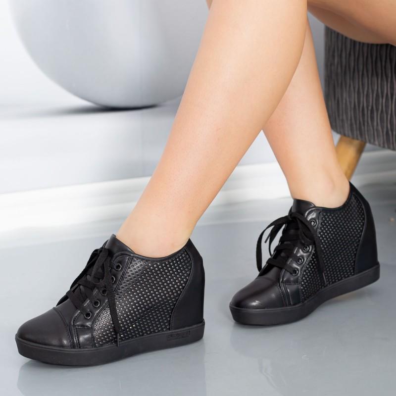 Pantofi Sport Dama cu Platforma K25 Negru Mei