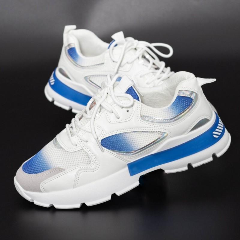 Pantofi Sport Barbati D886 Alb-Albastru Se7en