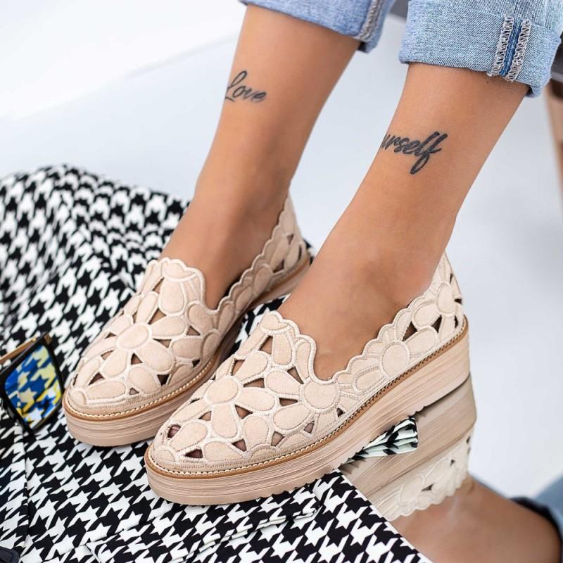 Pantofi Casual Dama DS25 Bej Mei