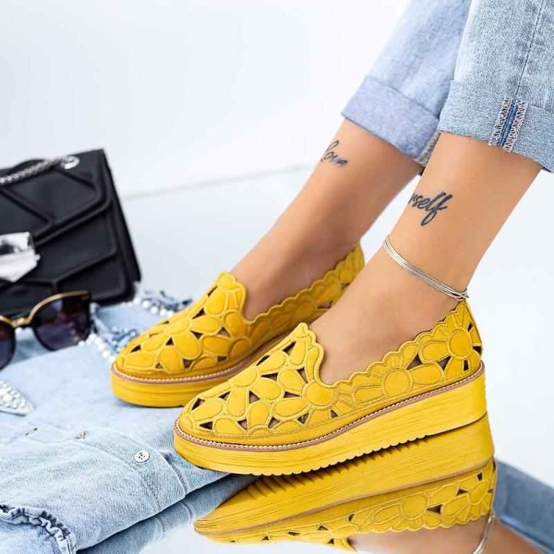 Pantofi Casual Dama DS25 Galben Mei