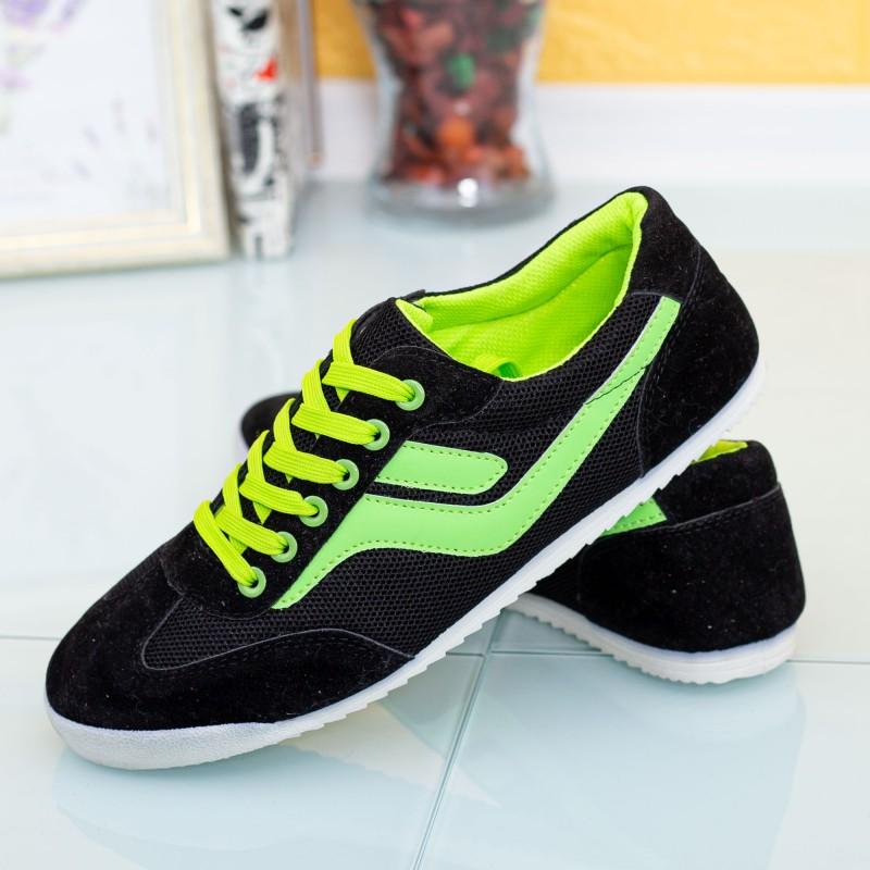 Pantofi Sport Barbati 8885 Negru-Verde Mei