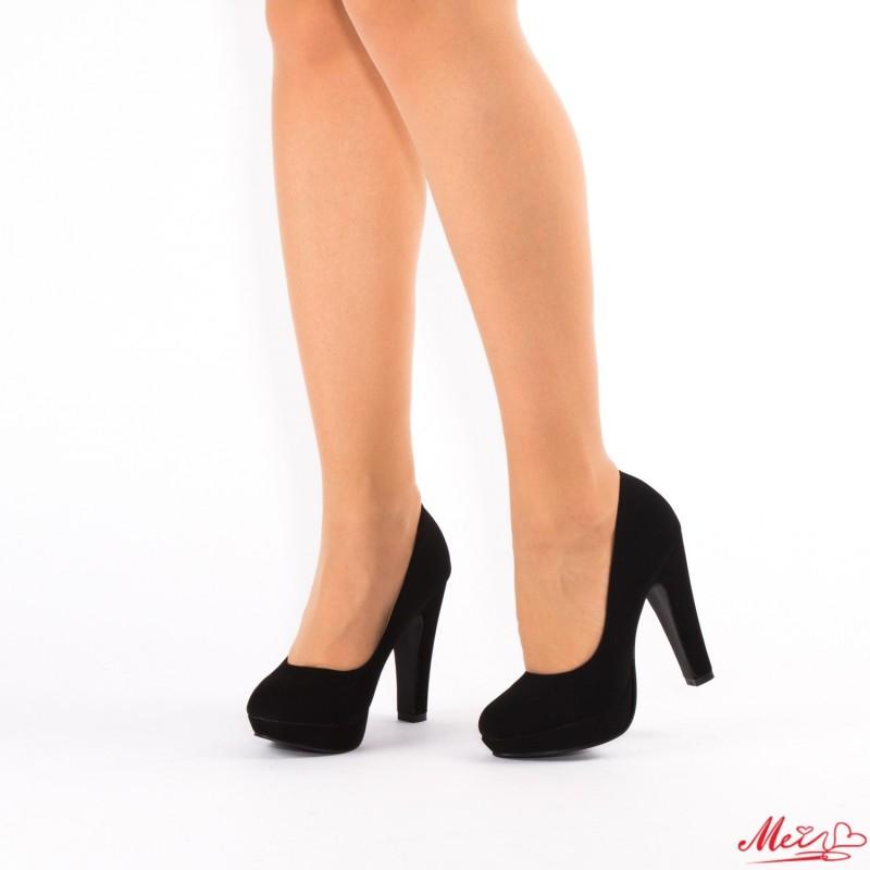 Pantofi cu Toc si Platforma XD26A Black Mei